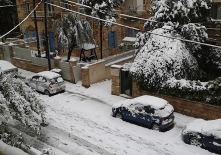 Snowy Jerusalem street, December 12, 2013