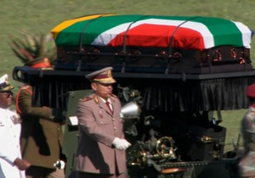 Nelson Mandela's coffin at funeral ceremony in Qunu, South Africa, December 15, 2013.