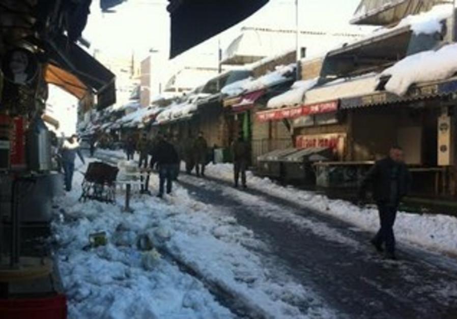 Jerusalem after the snowstorm, December 15, 2013.