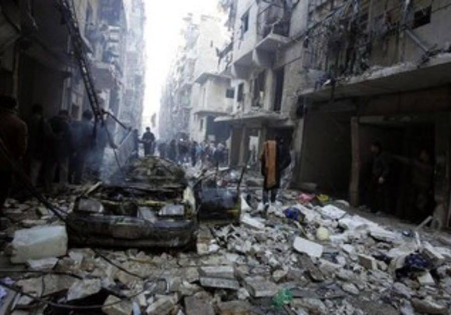 A site that activists said was struck by Syrian army forces in Aleppo, December 15, 2013.