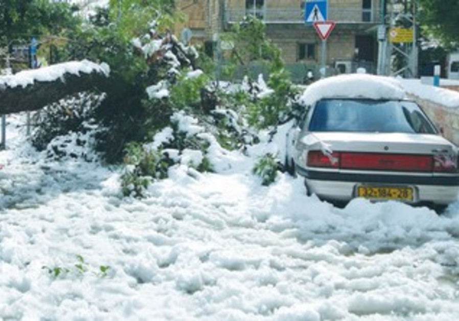 Jerusalem blanketed in snow.