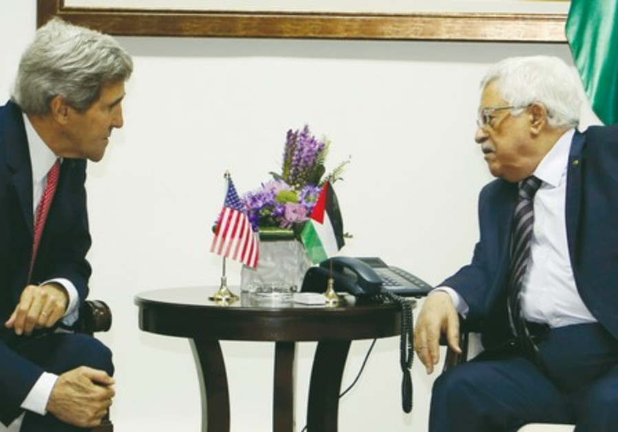 US Secretary of State John Kerry meets with Palestinian President Mahmoud Abbas.