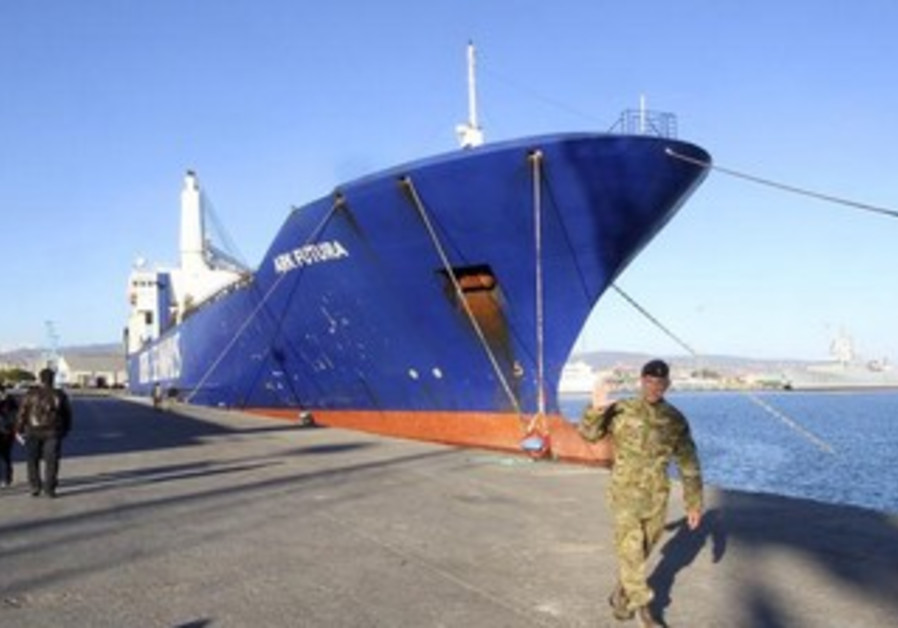 A cargo ships intended to take part in a mission to transport chemical agents out of Syria.