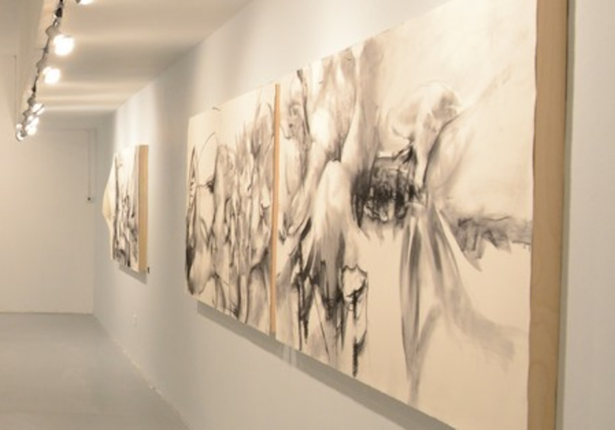 'Screening Layers' curated by Smadar Sheffi, features charcoal creations of generous proportions.
