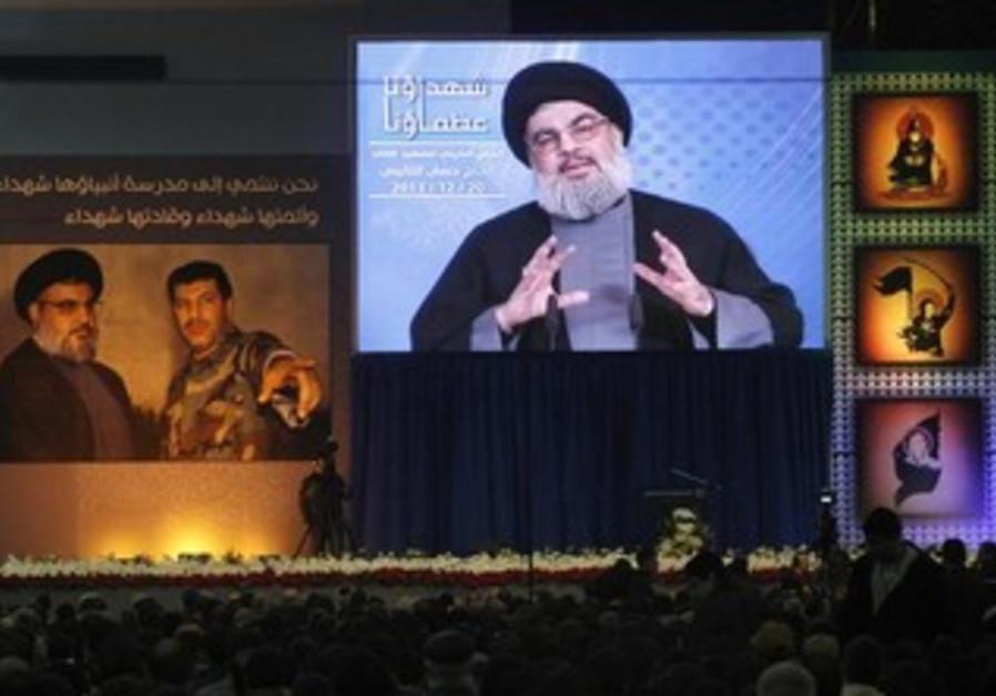 Hezbollah's Hassan Nasrallah addresses supporters in Beirut