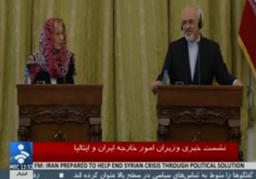 Iranian FM Zarif and Italian FM Bonino at press conference, Dec 22 2013