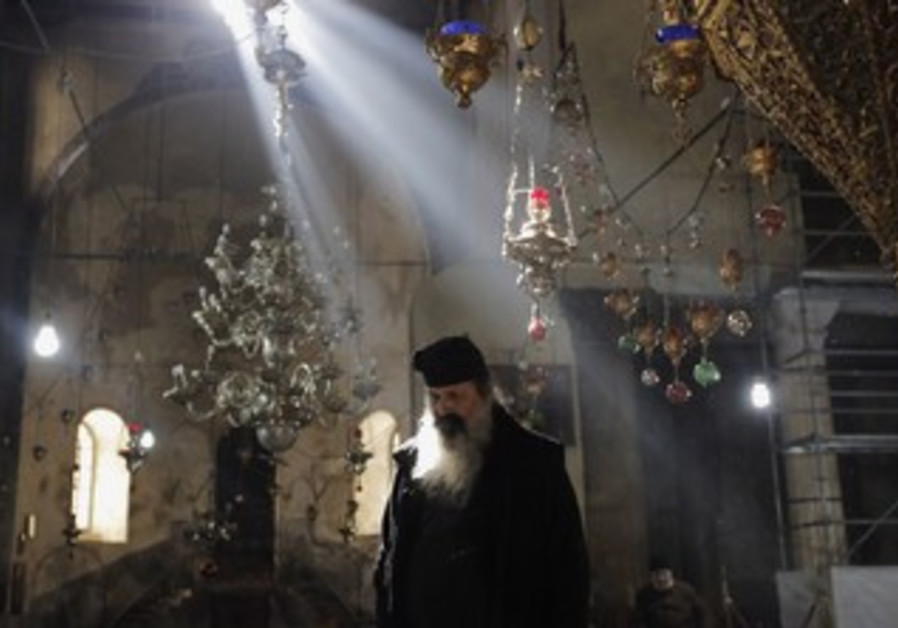 Church of the Nativity in Bethlehem prepared for Christmas, Dec. 23, 2013