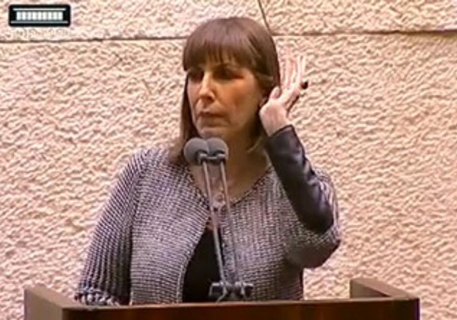 Culture Minister Livnat speaks at Knesset plenum, Dec. 23, 2013