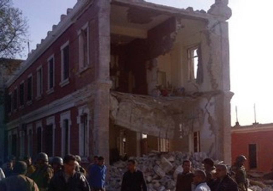 A damaged bulding after an explosion in Egypt's Nile Delta town of Anshas.