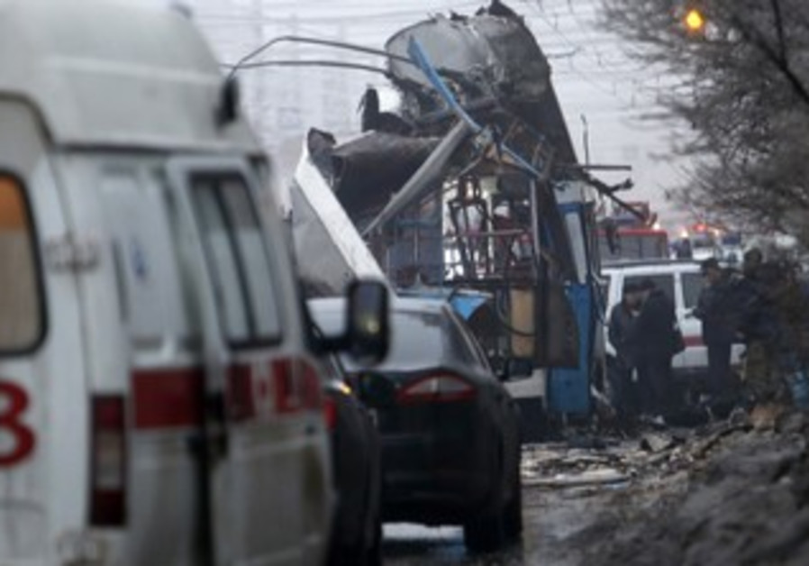 Authorities at the scene of an explosion in Volgograd