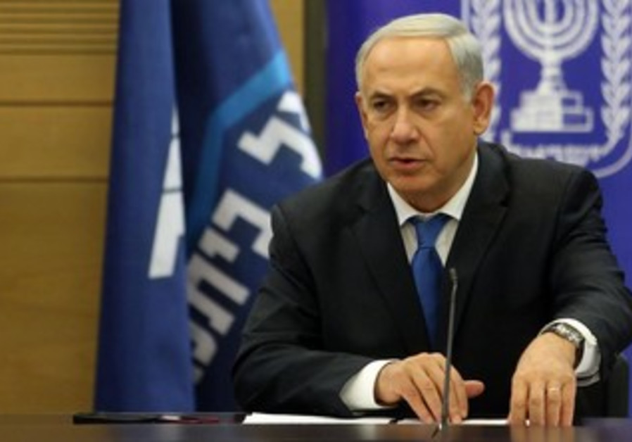Prime Minister Binyamin Netanyahu at the Likud faction meeting, December 30, 2013.