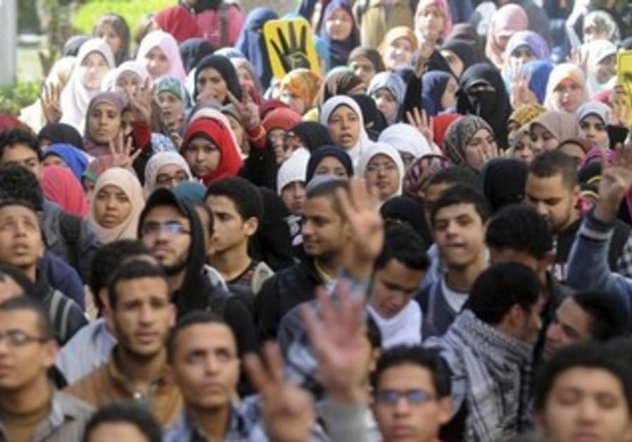 Cairo University students supporting the Muslim Brotherhood.