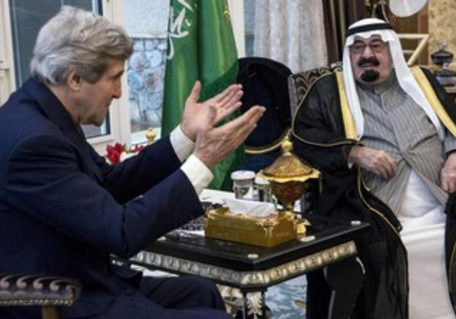 US Secretary of State John Kerry and Saudi Arabia's King Abdullah bin Abdulaziz al-Saud, January 5.
