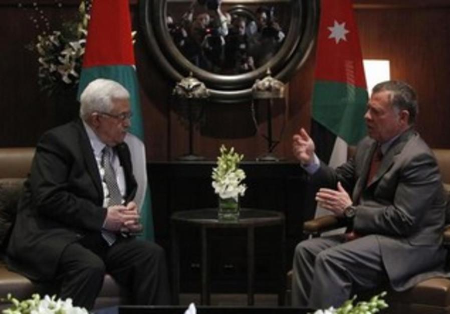 PA President Mahmoud Abbas meeting with Jordan's King Abdullah II, January 8, 2015.
