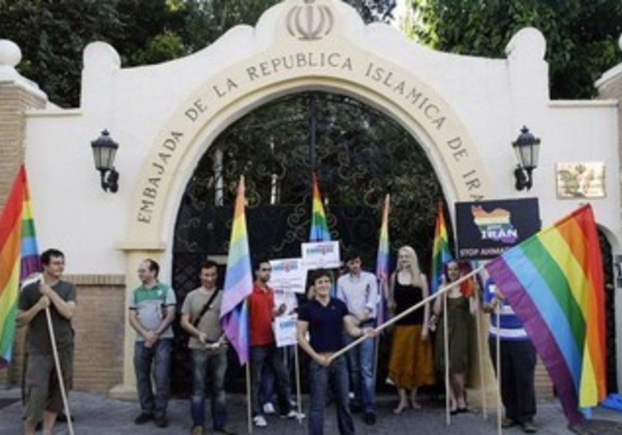 Spanish LGBT organization demonstrate against Iran's human rights violations outside Iranian embassy