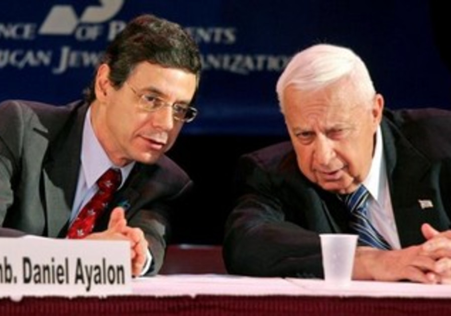 Ariel Sharon and then Israeli ambassador to the US Danny Ayalon [file].