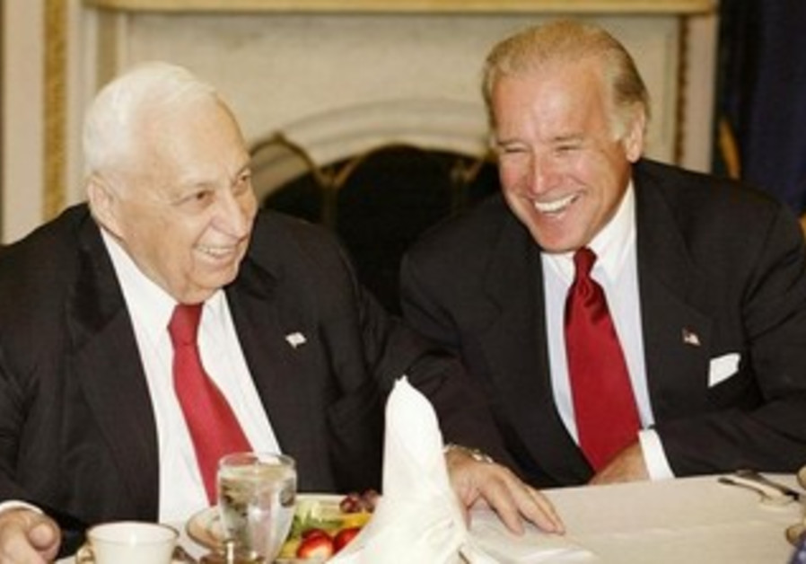 Then-Prime Minister Ariel Sharon meets with then-Senate majority leader Joe Biden in 2002