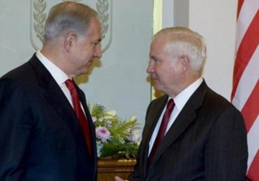 Prime Minister Binyamin Netanyahu meeting with then-US defense secretary Robert Gates, July 27, 2009