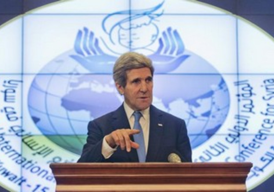US Secretary of State John Kerry speaks to the press in Kuwait