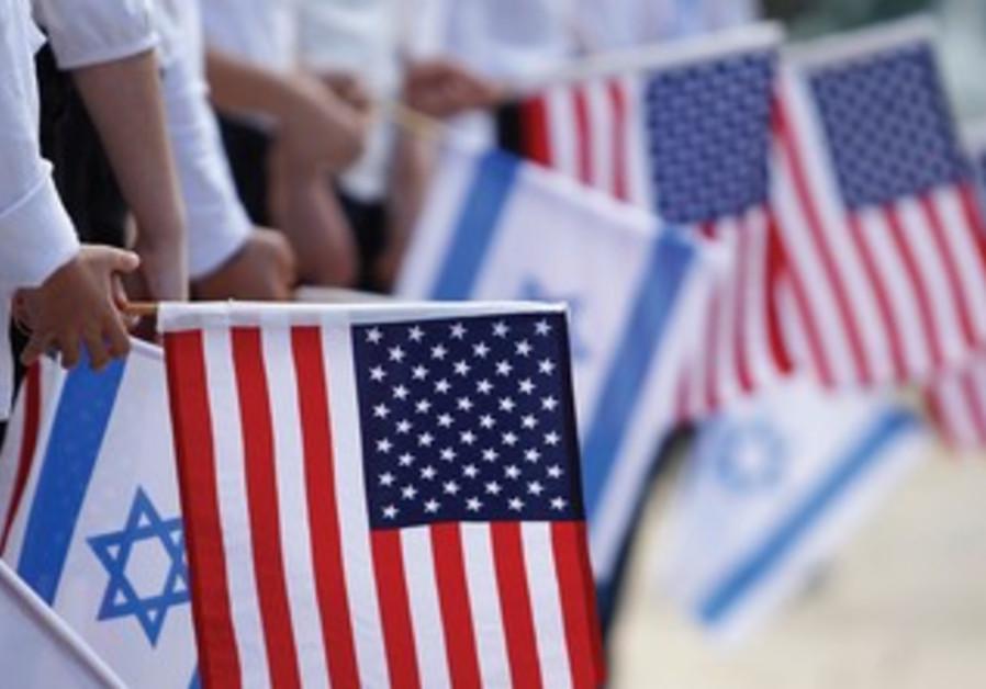 American, Israeli flags.