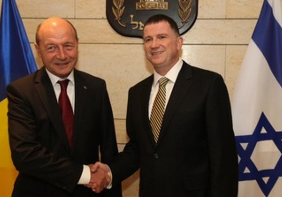 Romanian President Traian Băsescu and Knesset Speaker Yuli Edelstein at the Knesset, January 21, 201