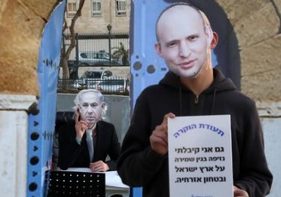 A Bennett vs. Netanyahu masks demostration.