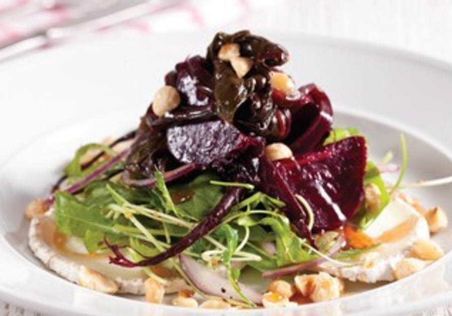 Roasted beets and cheese salad