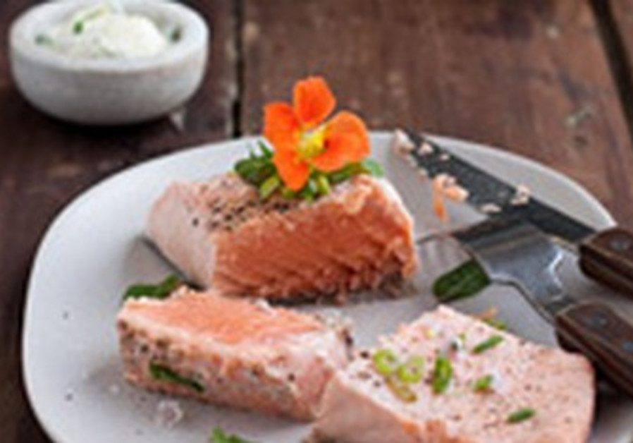 Poached salmon with herb dipping sauce