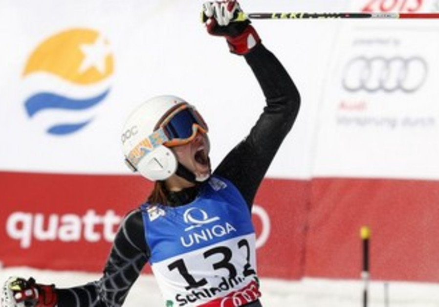 Lebanese skiier Jackie Chamoun during a competition last year in Austria.