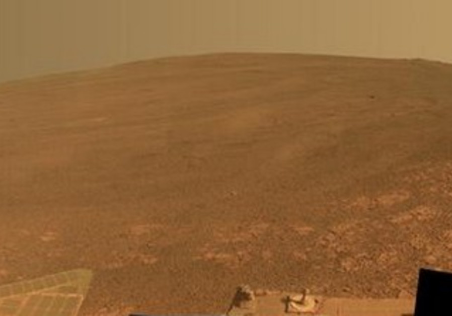 The scene on Mars as captured by NASA's Mars Exploration Rover Opportunity.