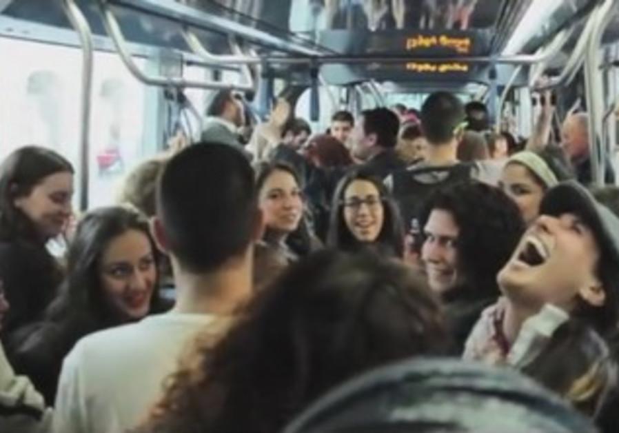 Laughing flash mob