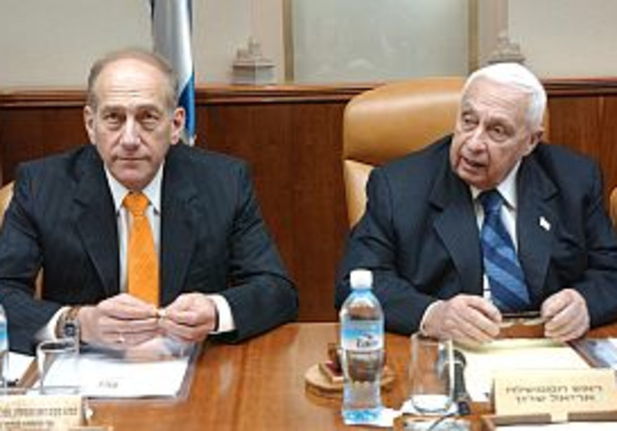 olmert and sharon sit together in cabinet 298