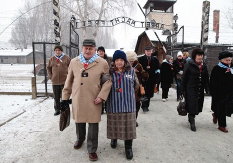 Holocaust survivors at Auschwitz