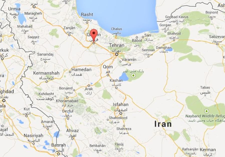 Map indicating city of Qavzin, Iran