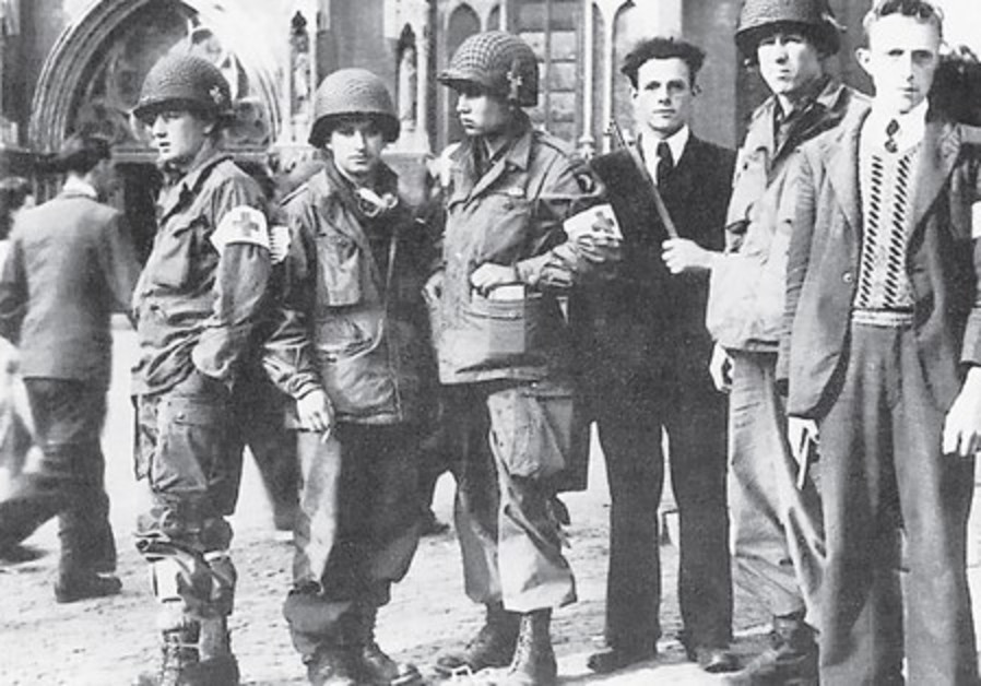 Eindhoven Resistance with troops of the 326th Medical Company (101st Airborne)