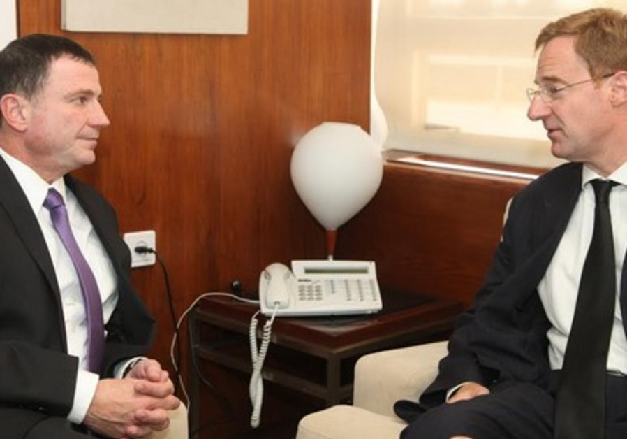 Yuli Edelstein and Belgian ambassador to Israel, John Cornet d'Elzius