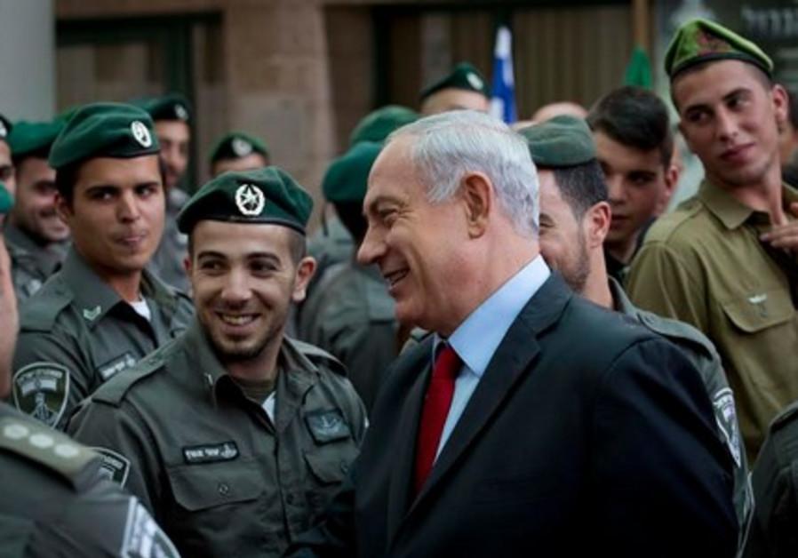 Prime Minister Binyamin Netanyahu meets Border Police, soldiers