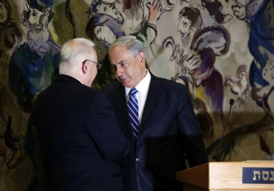 Reuven Rivlin and Benjamin Netanyahu raising a toast
