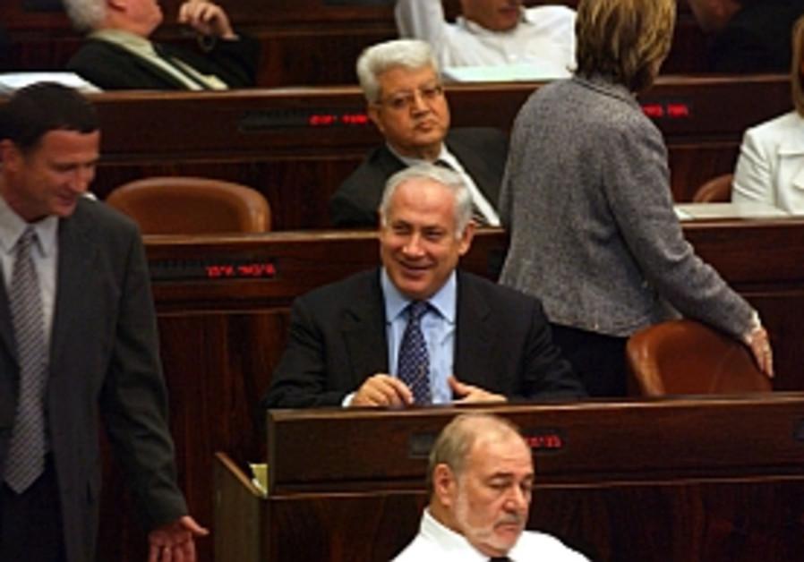 netanyahu smiles happy in knesset 298