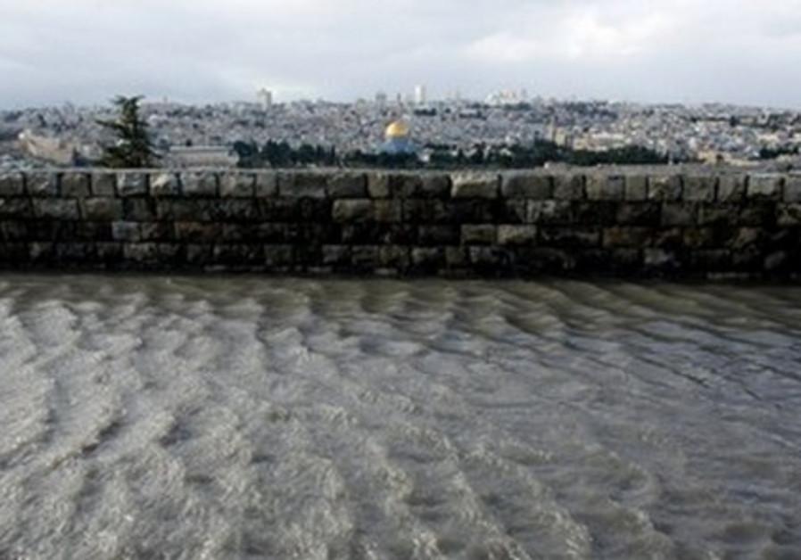 Rain water creates floods in J'lem, January 2013