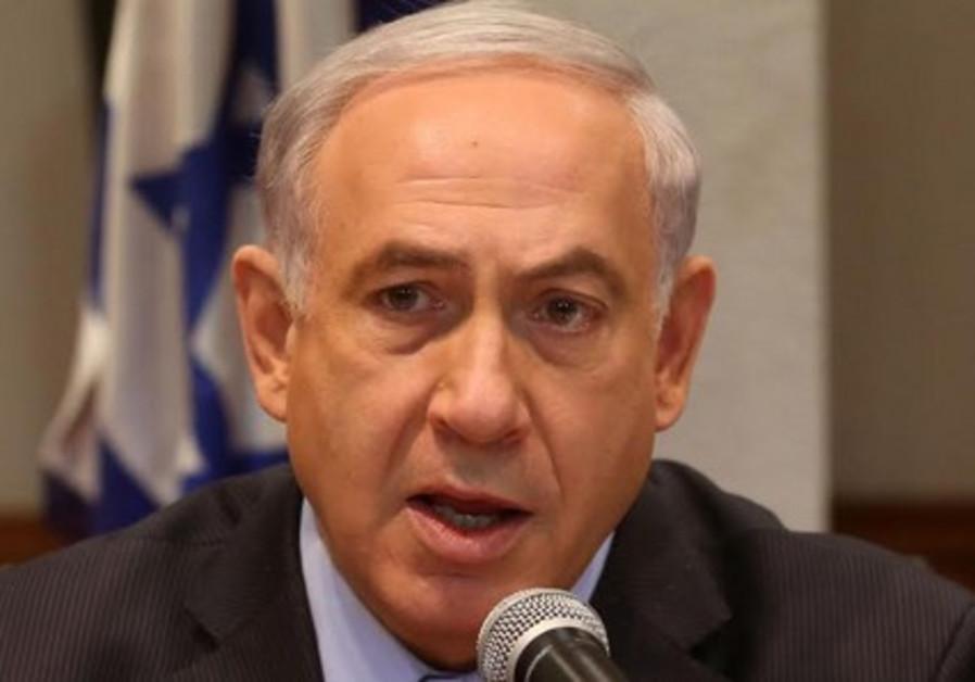 Netanyahu at cabinet meeting, June 15, 2014.