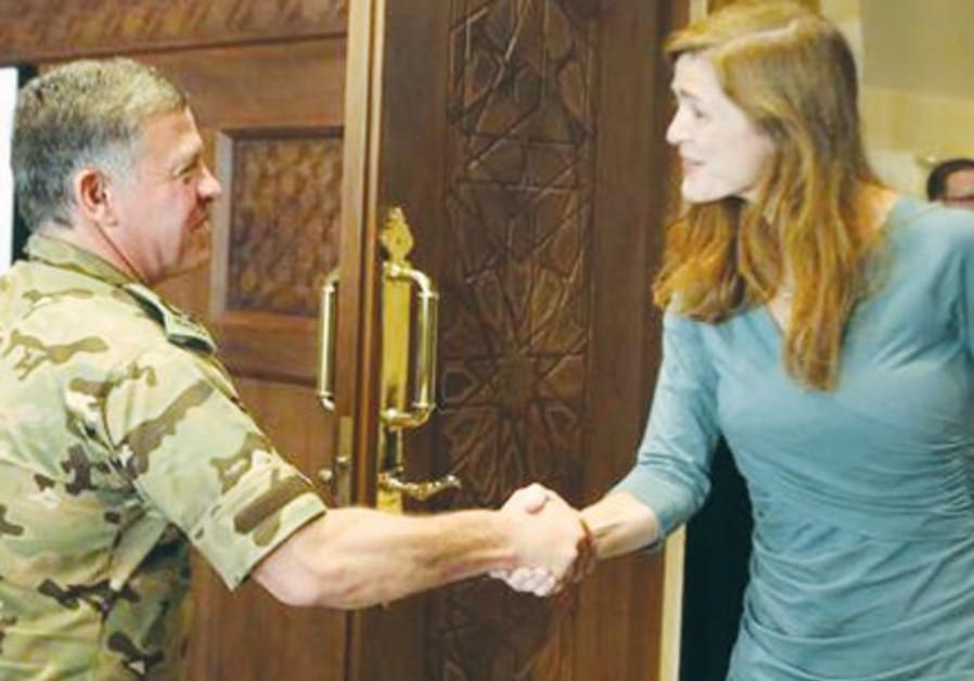 KING ABDULLAH II meets  Samantha Power