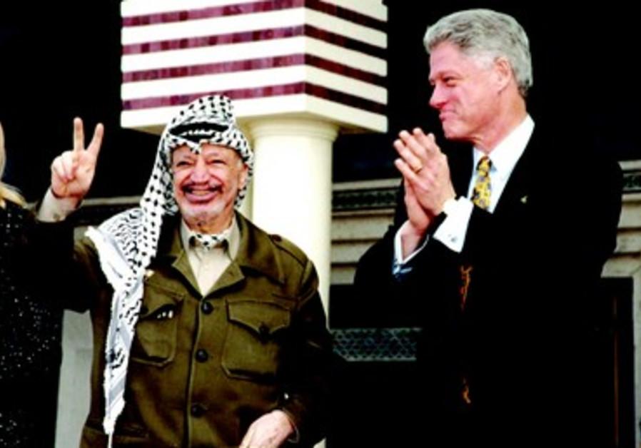 Yasser Arafat et Bill Clinton