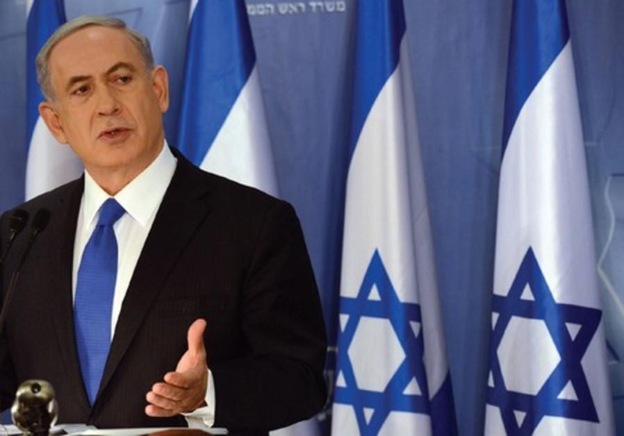 PRIME MINISTER Binyamin Netanyahu speaks at a press conference in Tel Aviv on Friday