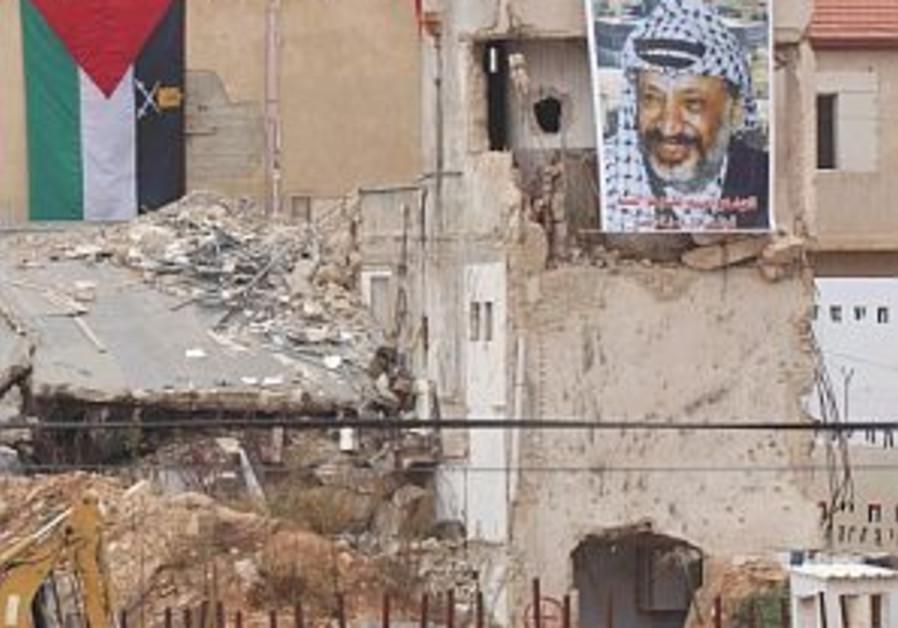 arafat poster on mukata bulldozer 298