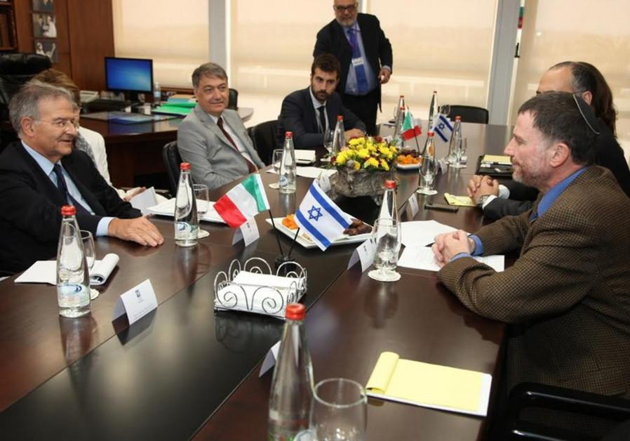 President Fabrizio Cicchitto and Knesset Speaker Yuli Edelstein