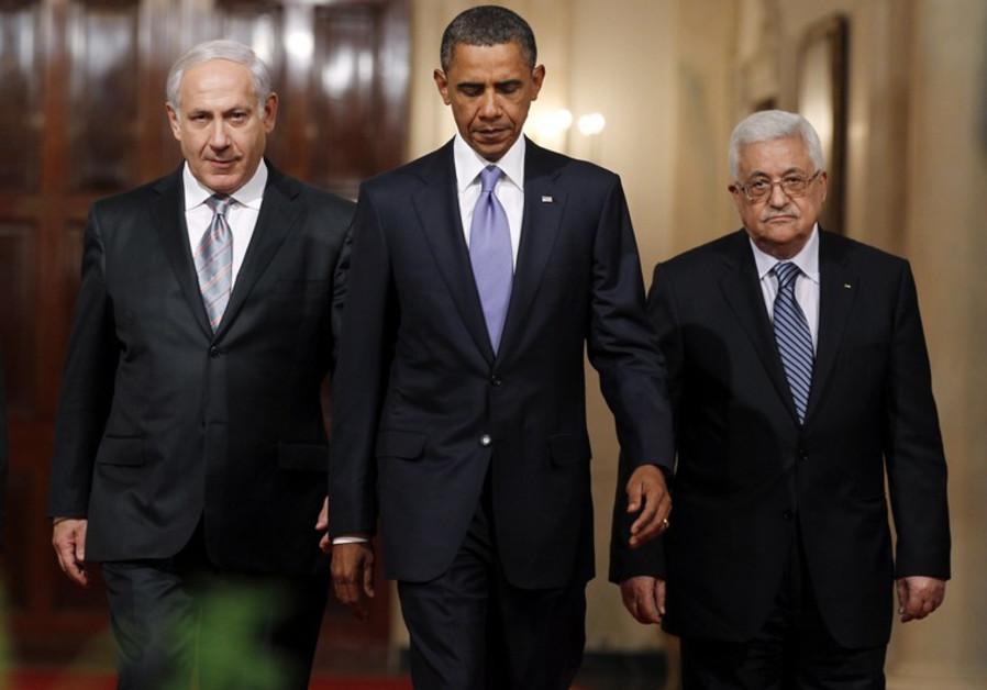 Benjamin Netanyahu, Barack Obama and Mahmoud Abbas