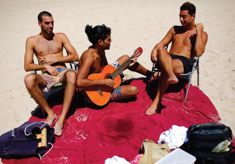 Israelis on the beach.