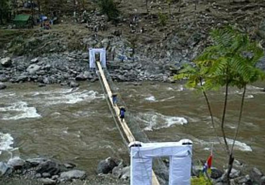 kashmir bridge in teethwal for quake aid