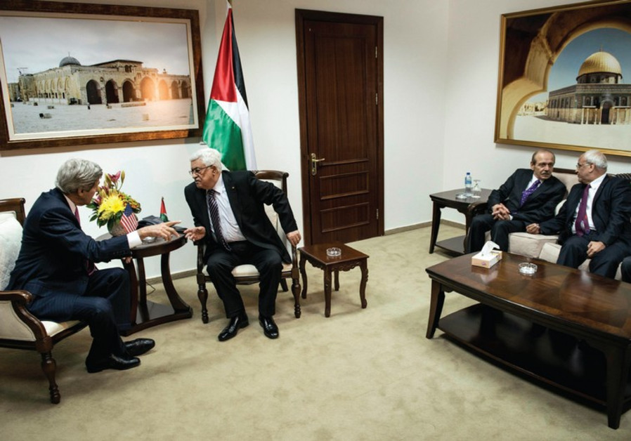 John Kerry, Mahmoud Abbas, Yasser Abed Rabbo, and Saeb Erekat.